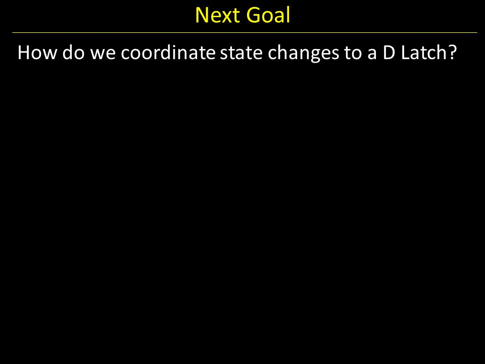 Next Goal How do we coordinate state changes to a D Latch