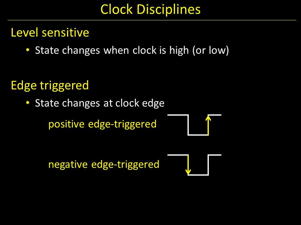 Clock Disciplines Level sensitive Edge triggered