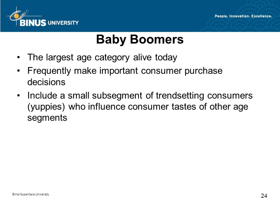 Baby Boomers The largest age category alive today