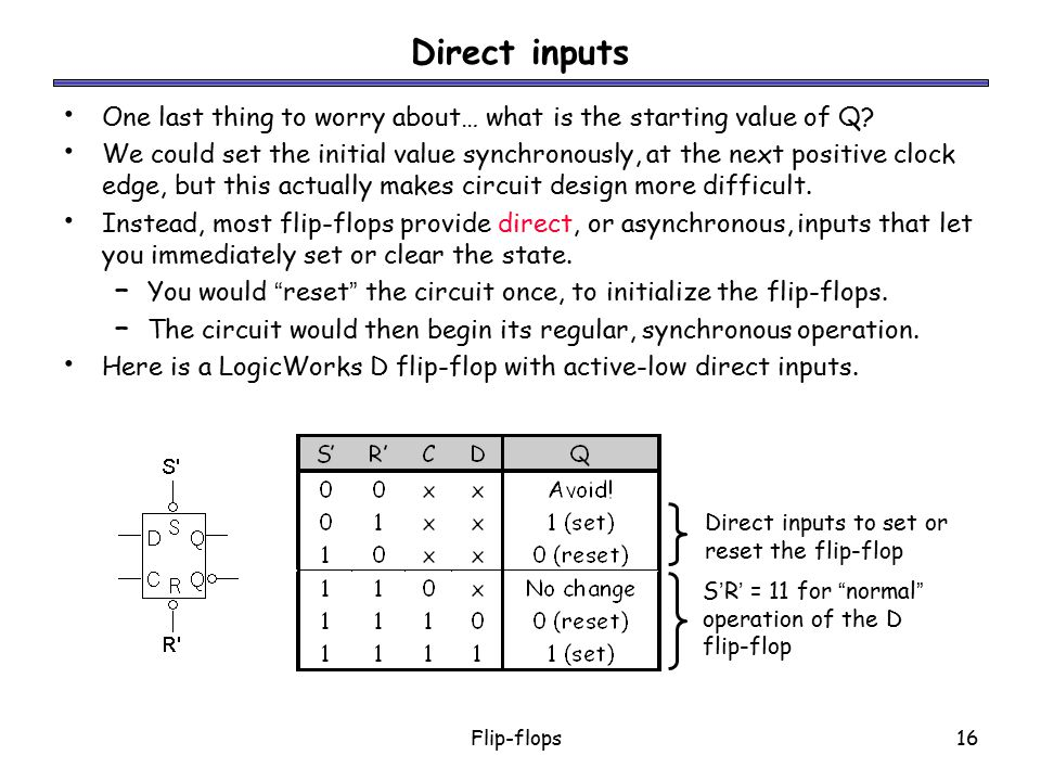 Direct inputs One last thing to worry about… what is the starting value of Q