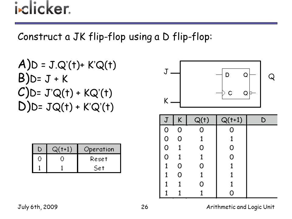 Construct a JK flip-flop using a D flip-flop: D = J.Q'(t)+ K'Q(t)