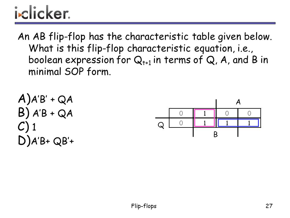 An AB flip-flop has the characteristic table given below