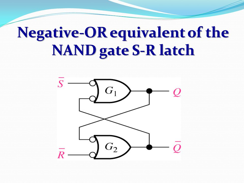 Negative-OR equivalent of the NAND gate S-R latch