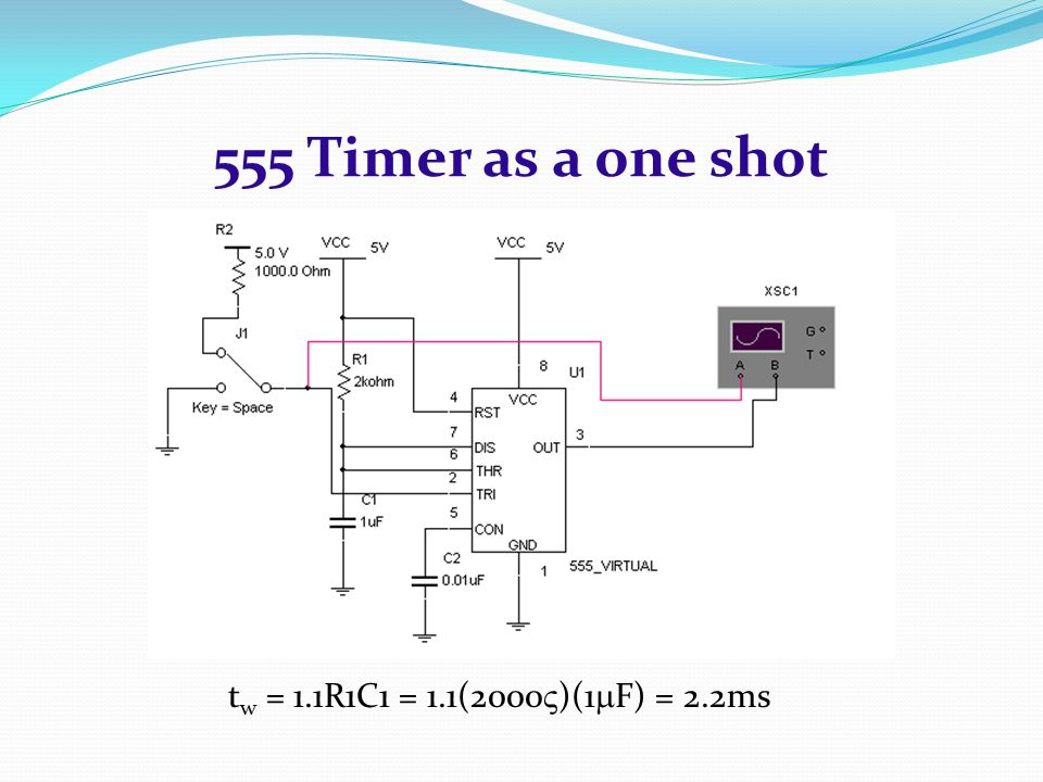 555 Timer as a one shot tw = 1.1R1C1 = 1.1(2000)(1F) = 2.2ms