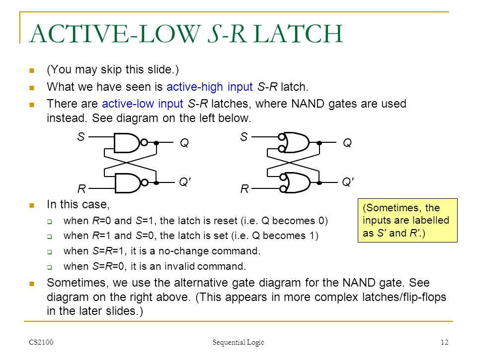 ACTIVE-LOW S-R LATCH (You may skip this slide.)