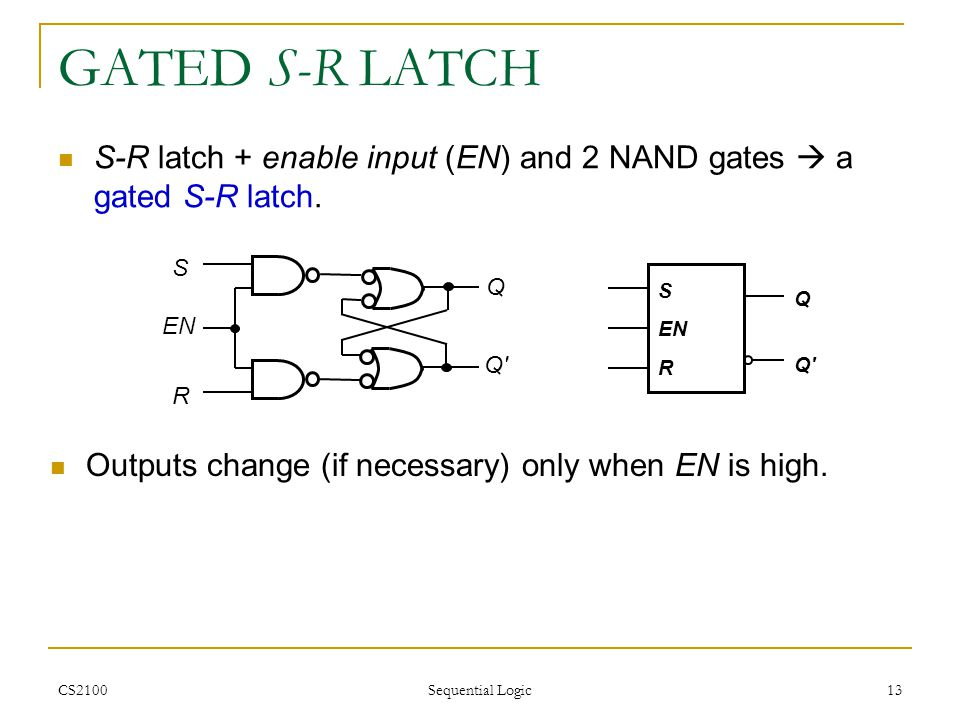 GATED S-R LATCH S-R latch + enable input (EN) and 2 NAND gates  a gated S-R latch. S. R. Q. Q