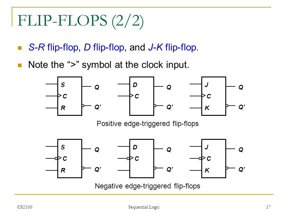 FLIP-FLOPS (2/2) S-R flip-flop, D flip-flop, and J-K flip-flop.