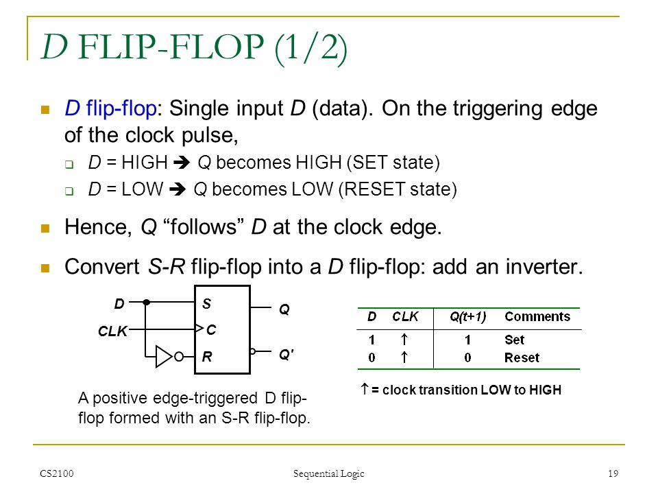 D FLIP-FLOP (1/2) D flip-flop: Single input D (data). On the triggering edge of the clock pulse, D = HIGH  Q becomes HIGH (SET state)