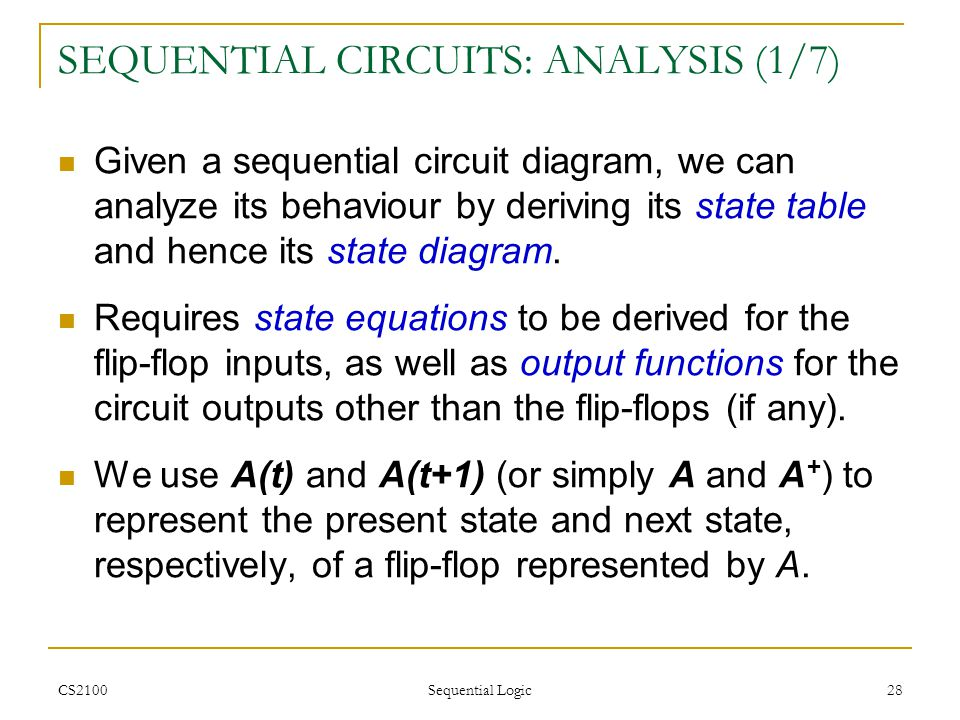 SEQUENTIAL CIRCUITS: ANALYSIS (1/7)