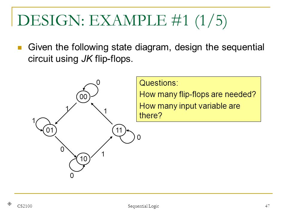 DESIGN: EXAMPLE #1 (1/5) Given the following state diagram, design the sequential circuit using JK flip-flops.