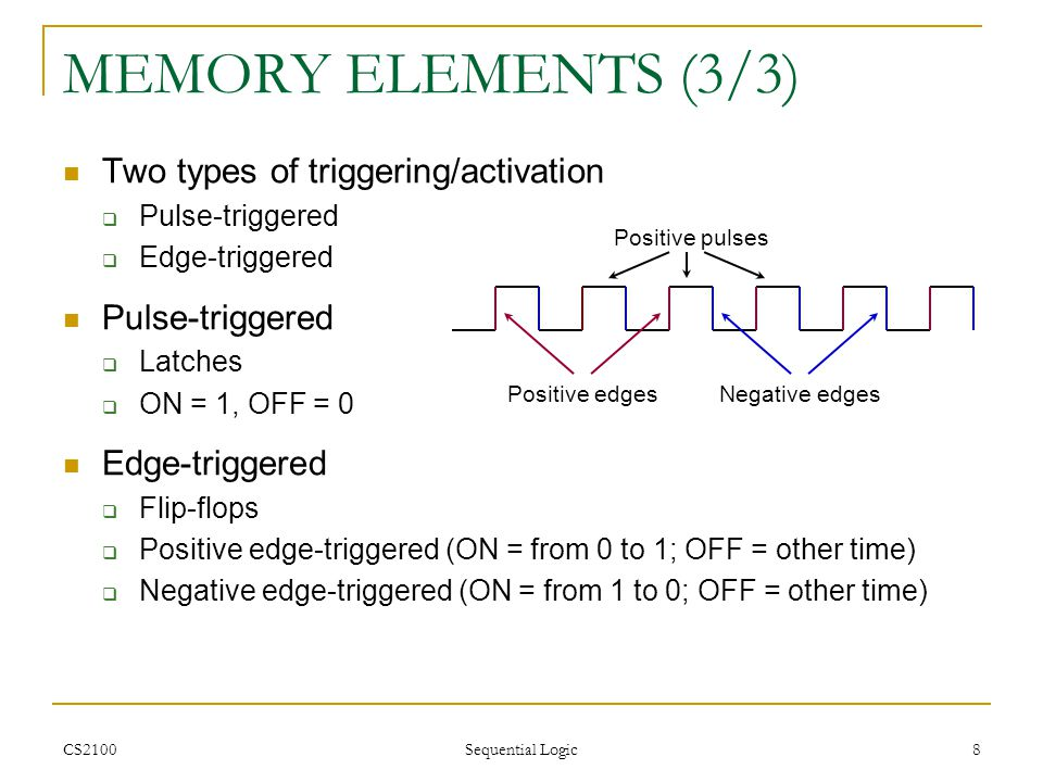 MEMORY ELEMENTS (3/3) Two types of triggering/activation