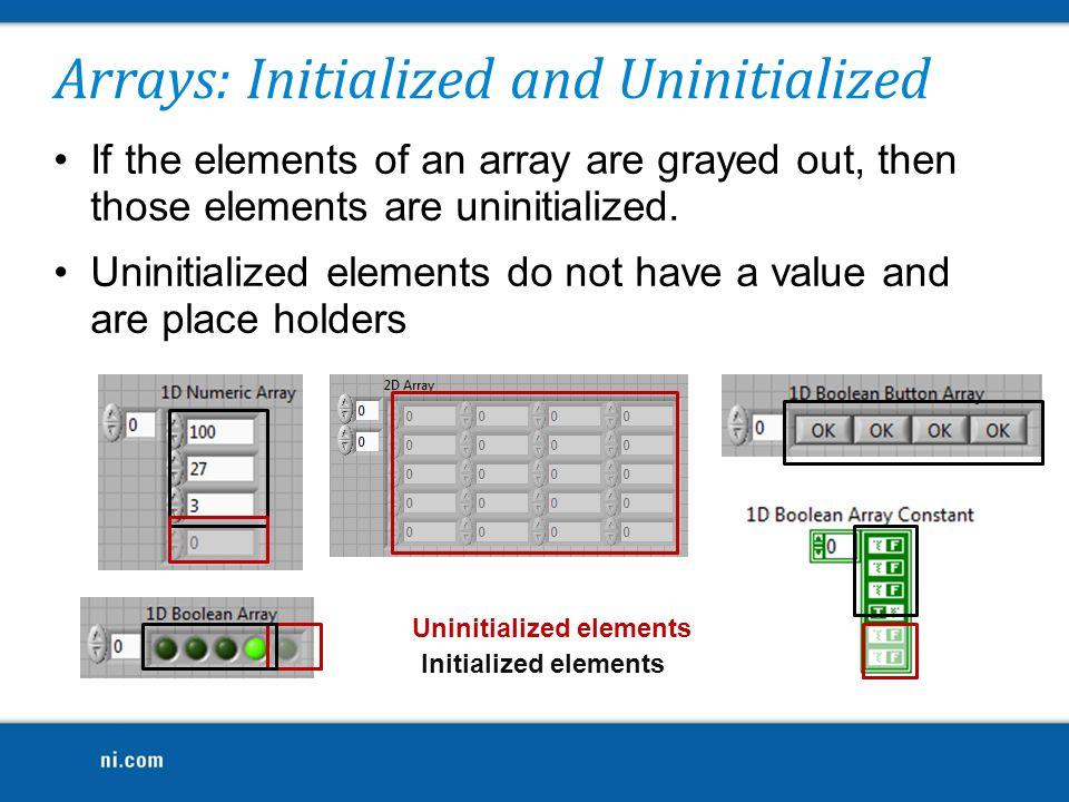 Arrays: Initialized and Uninitialized
