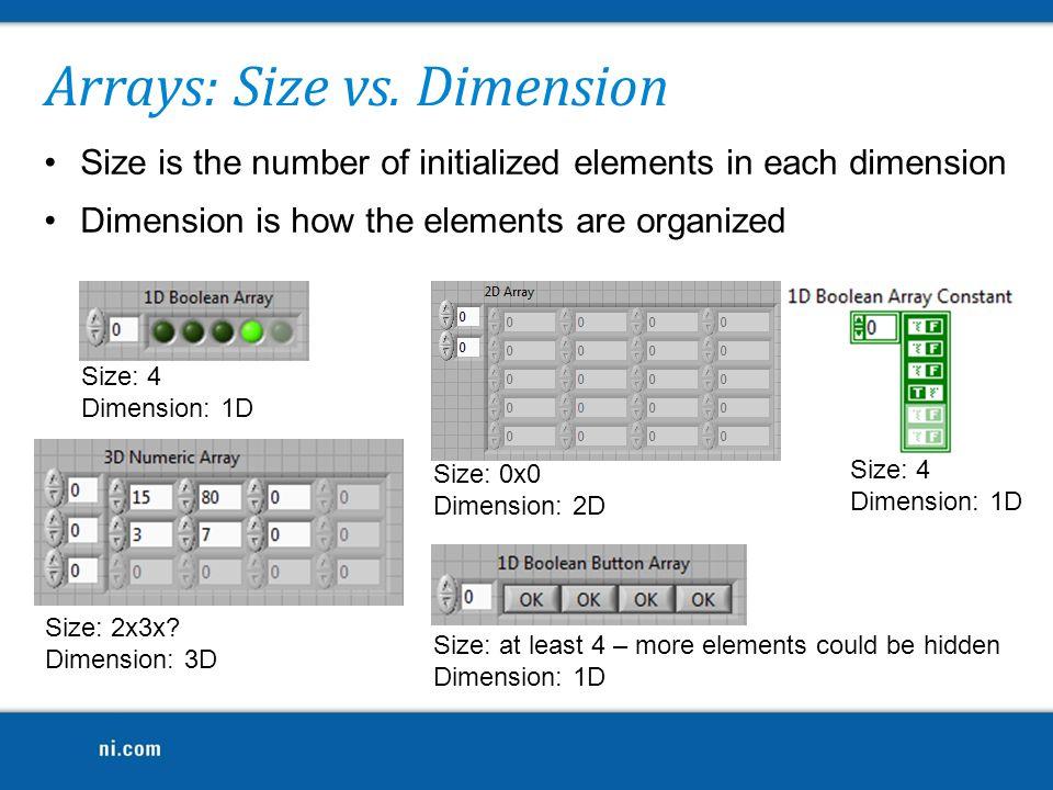 Arrays: Size vs. Dimension