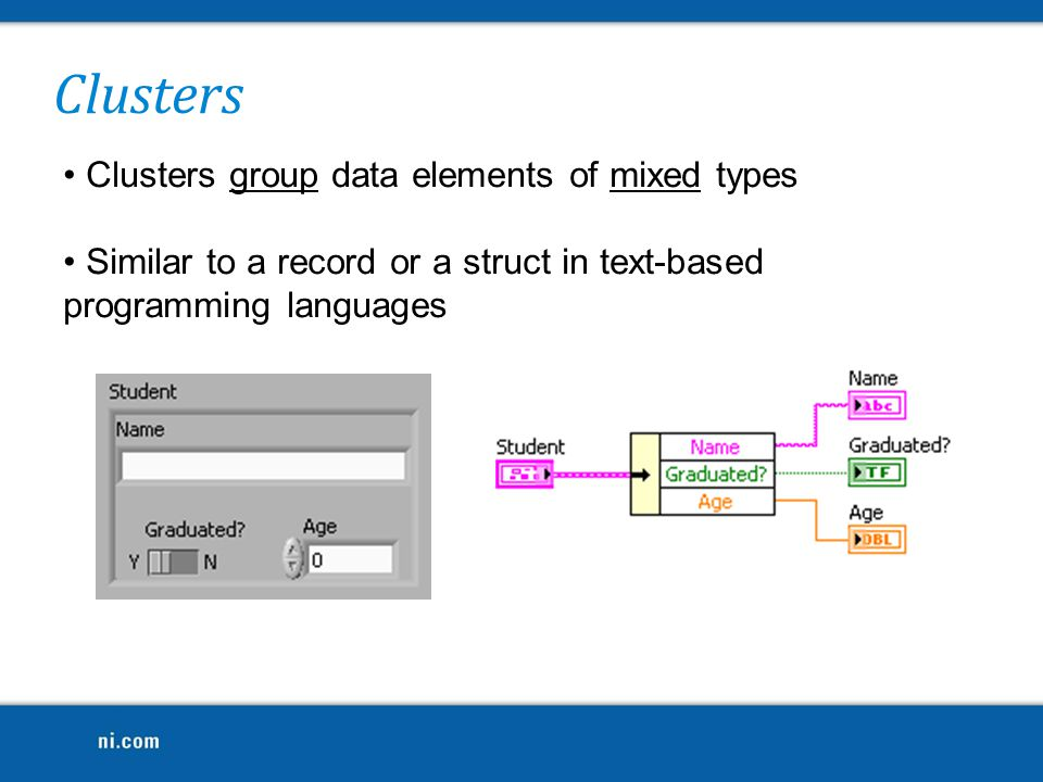 Clusters Clusters group data elements of mixed types