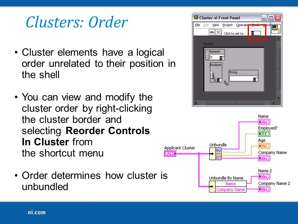 Clusters: Order Cluster elements have a logical order unrelated to their position in the shell.