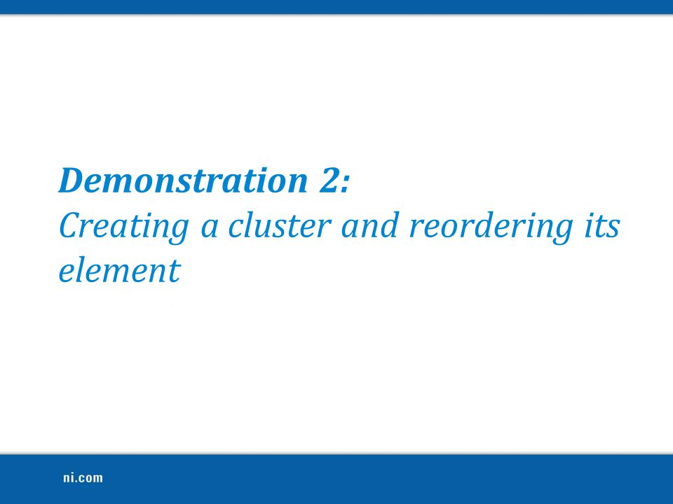 Creating a cluster and reordering its element