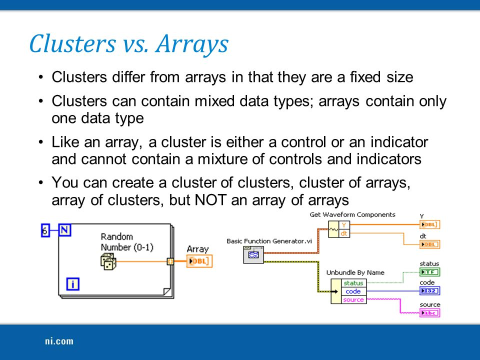 Clusters vs. Arrays Clusters differ from arrays in that they are a fixed size.