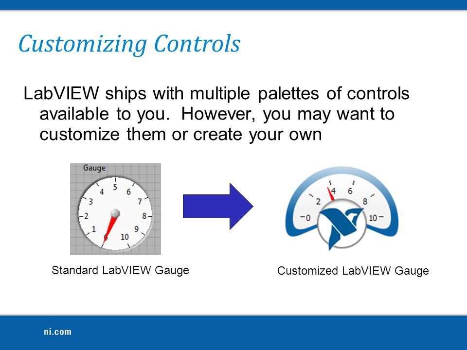 Customizing Controls LabVIEW ships with multiple palettes of controls available to you. However, you may want to customize them or create your own.