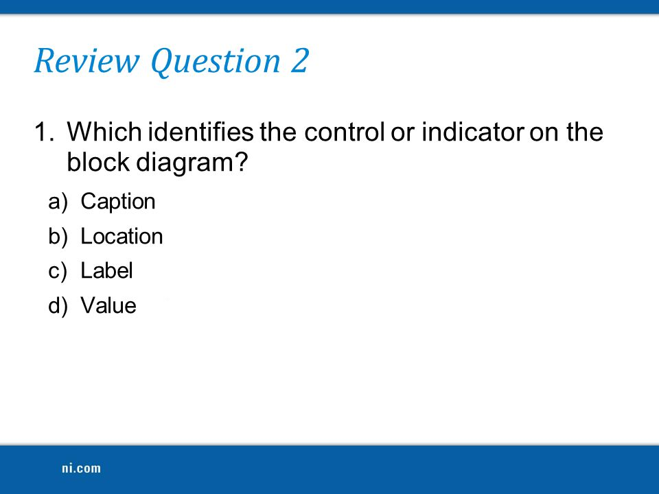 Review Question 2 Which identifies the control or indicator on the block diagram Caption. Location.