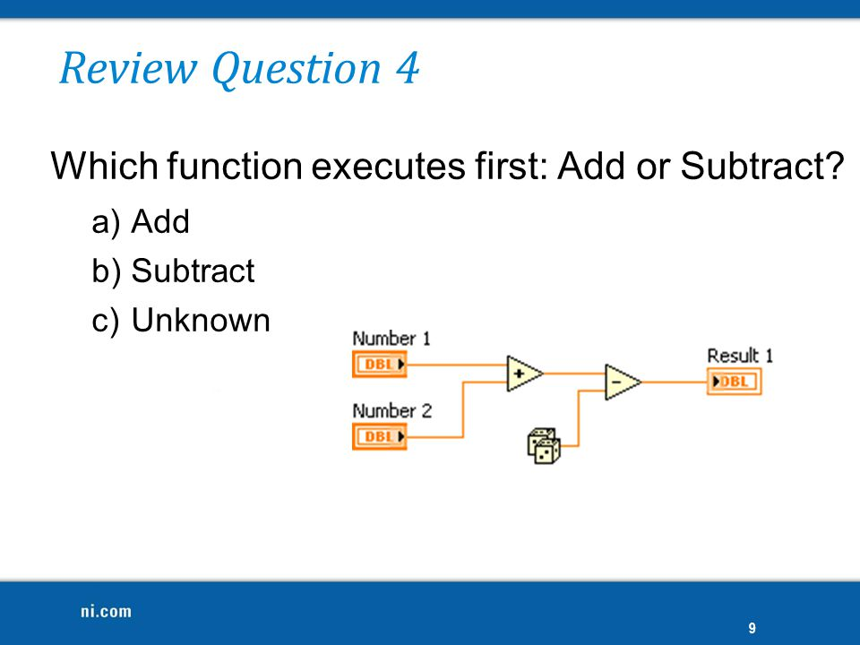 Review Question 4 Which function executes first: Add or Subtract Add