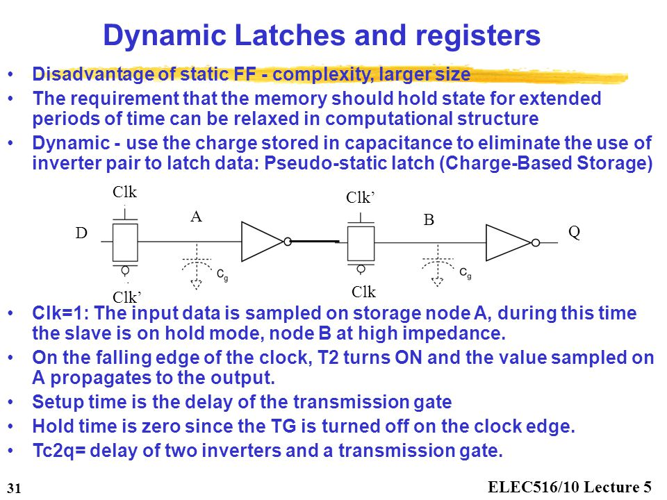 Dynamic Latches and registers