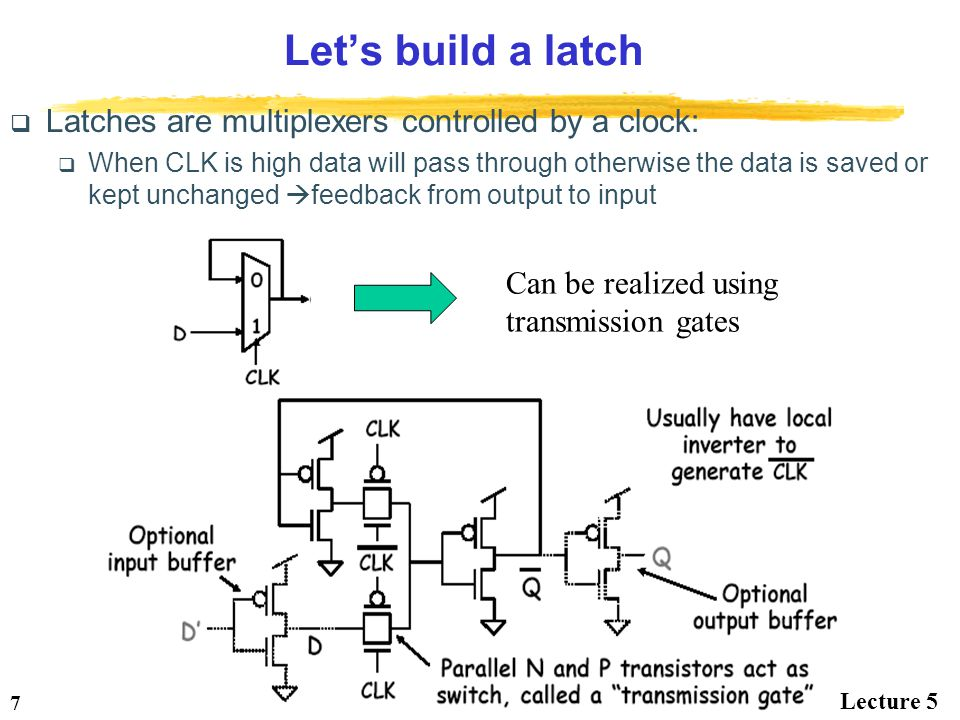 Let's build a latch Latches are multiplexers controlled by a clock: