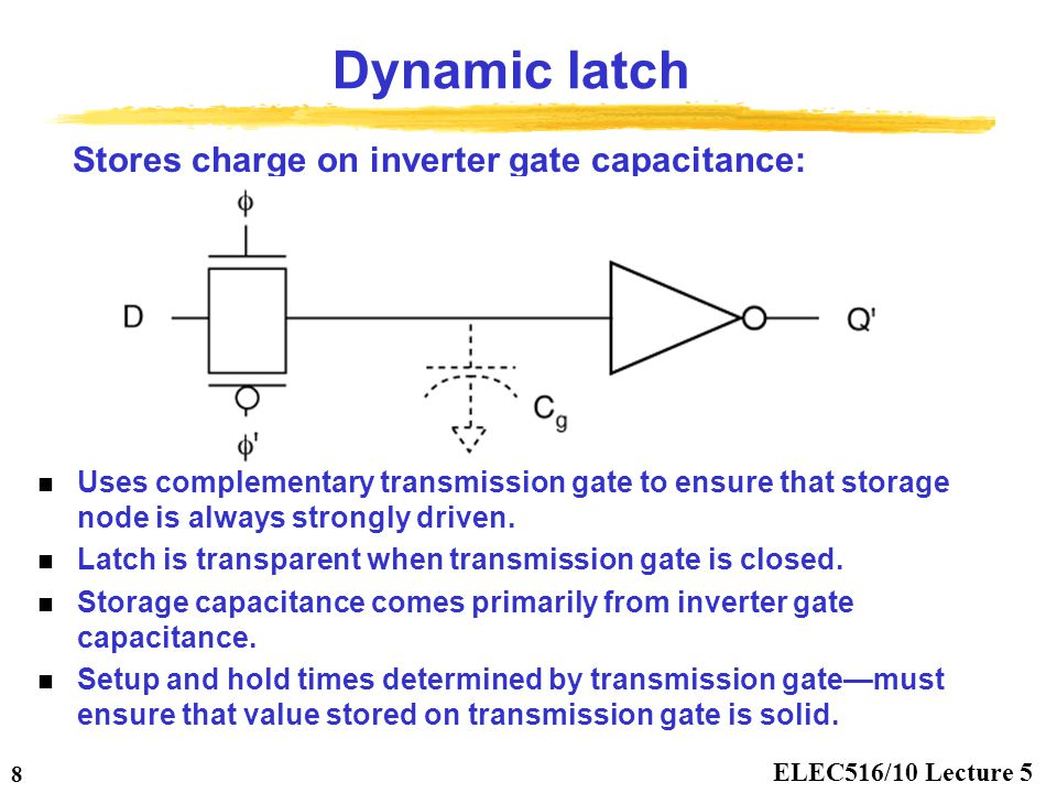 Dynamic latch Stores charge on inverter gate capacitance: