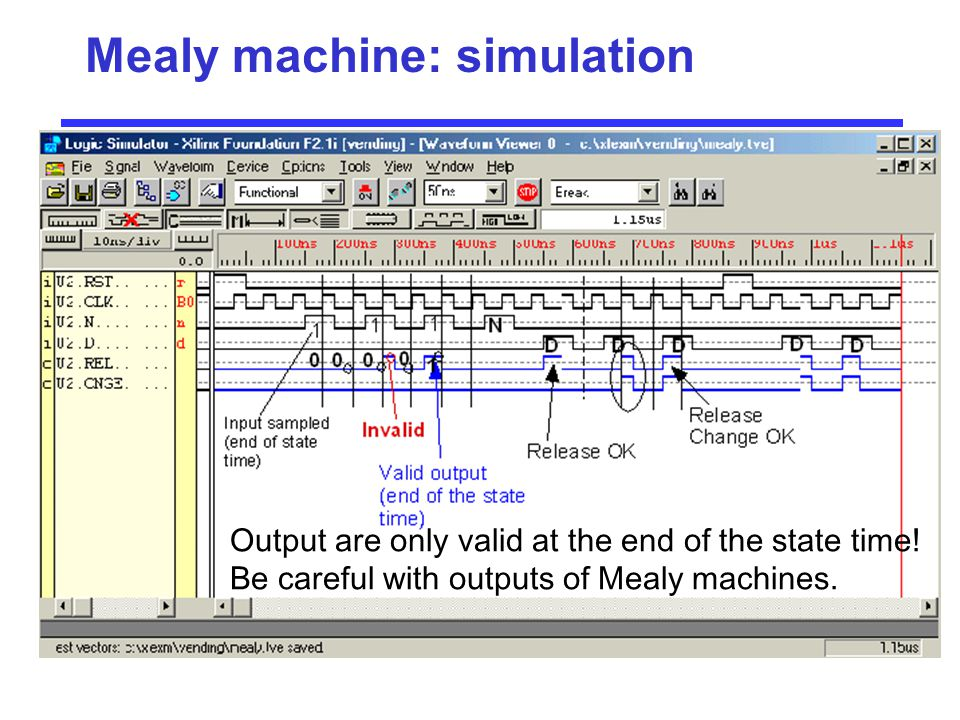 Mealy machine: simulation