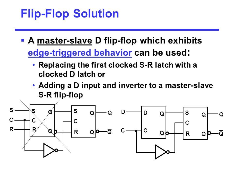 Flip-Flop Solution A master-slave D flip-flop which exhibits edge-triggered behavior can be used: