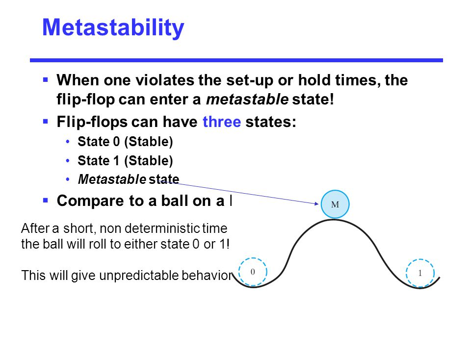 Metastability When one violates the set-up or hold times, the flip-flop can enter a metastable state!