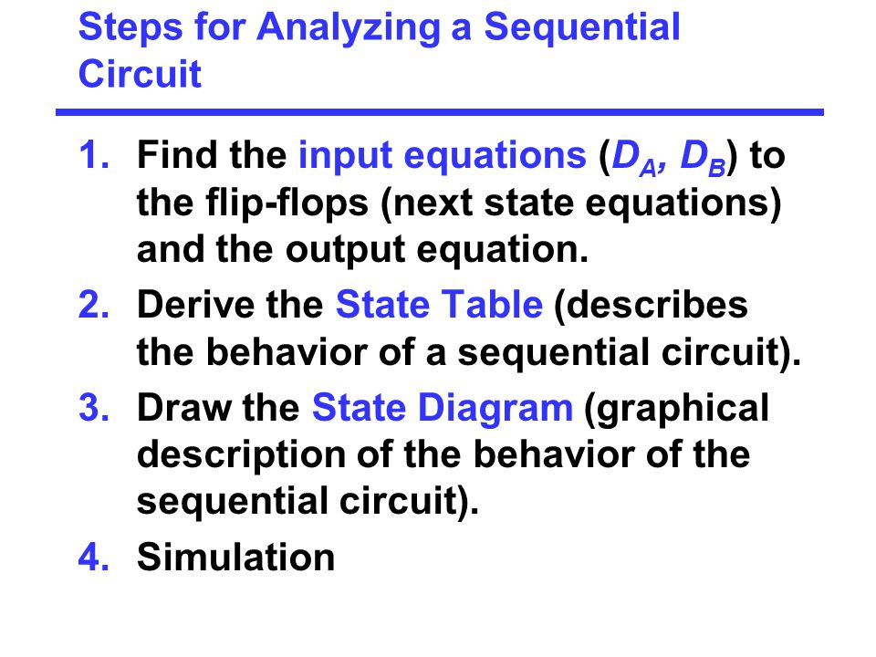 Steps for Analyzing a Sequential Circuit