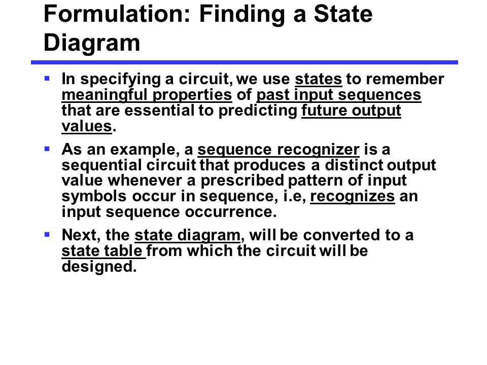 Formulation: Finding a State Diagram