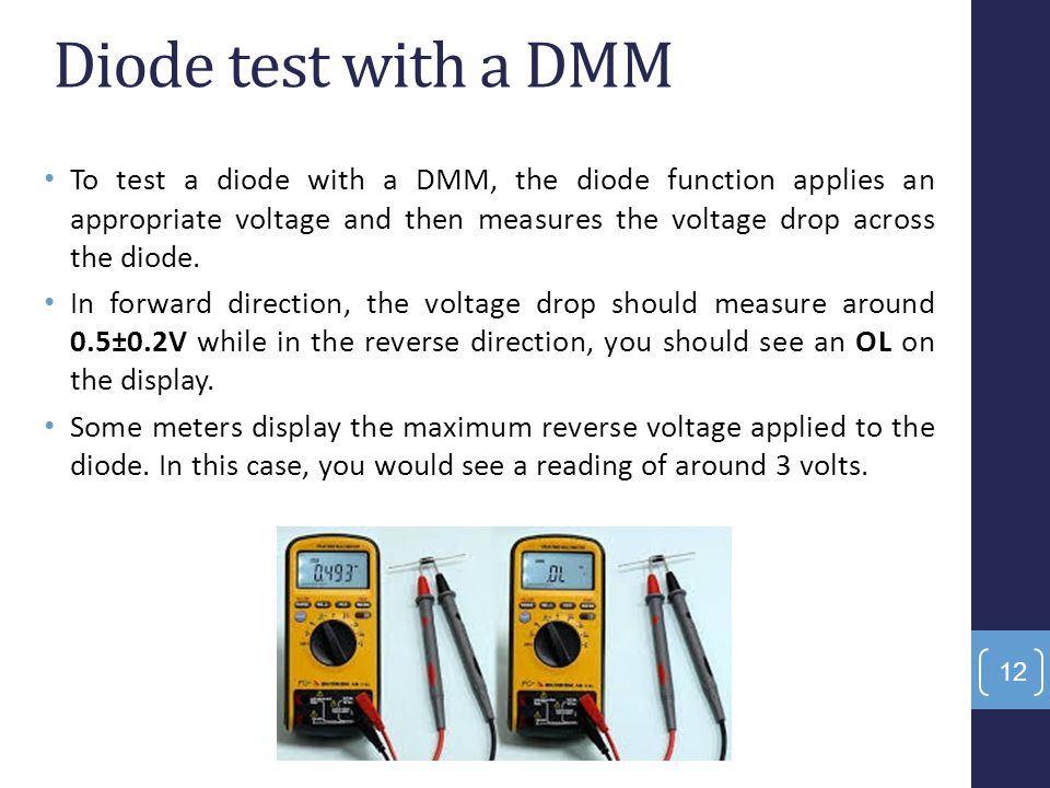 Diode test with a DMM