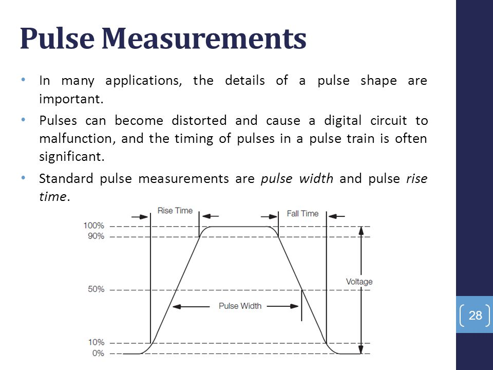 Pulse Measurements In many applications, the details of a pulse shape are important.