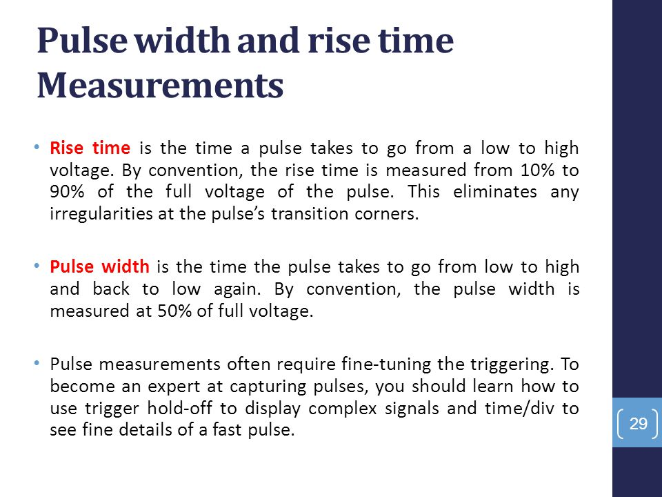 Pulse width and rise time Measurements