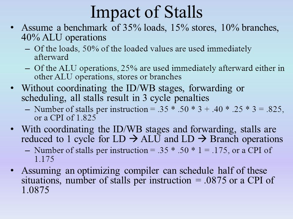 Impact of Stalls Assume a benchmark of 35% loads, 15% stores, 10% branches, 40% ALU operations.
