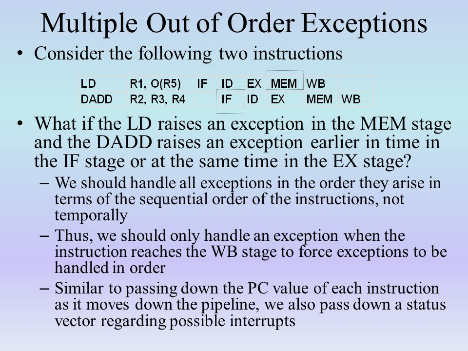 Multiple Out of Order Exceptions
