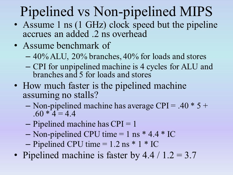 Pipelined vs Non-pipelined MIPS