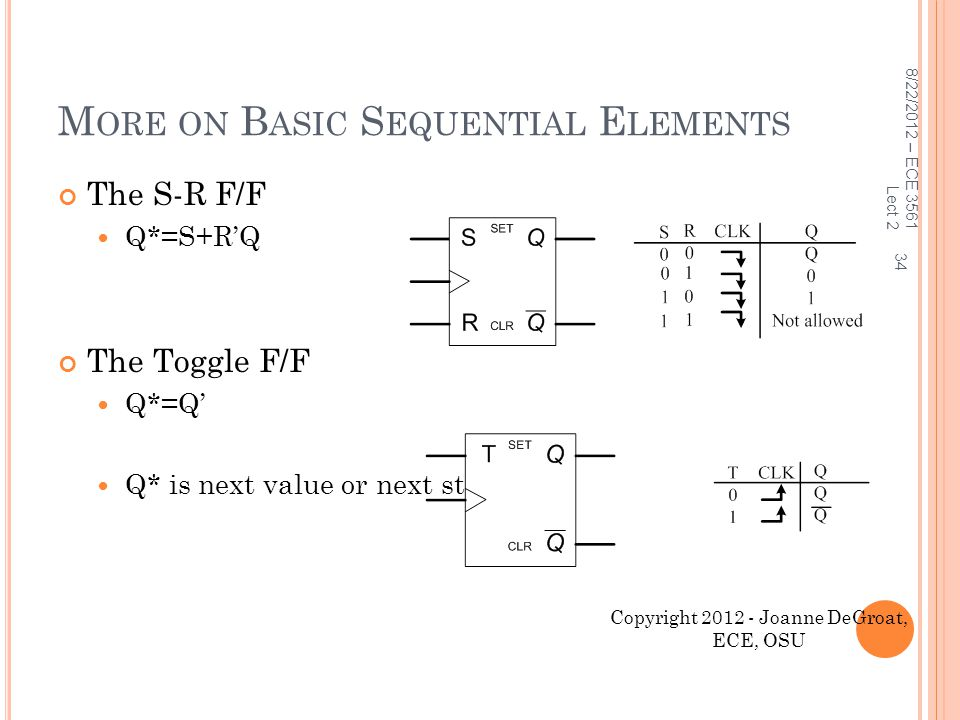 More on Basic Sequential Elements