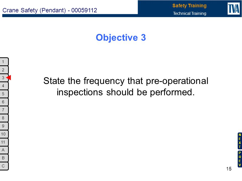 Objective 3 State the frequency that pre-operational inspections should be performed. XI. Lesson Plan.