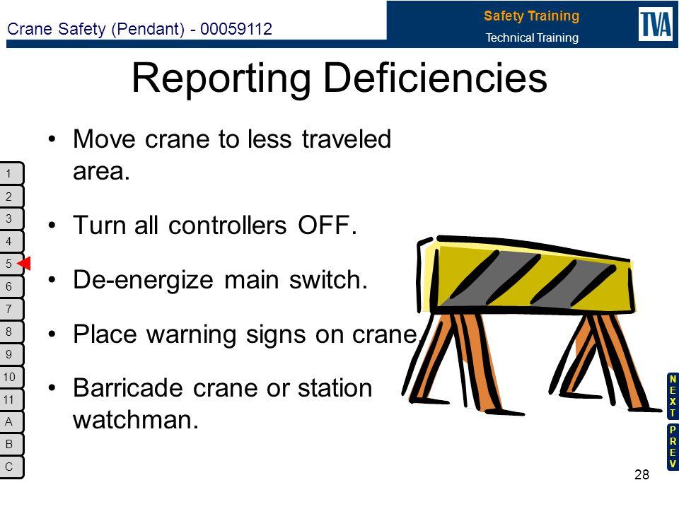 Reporting Deficiencies