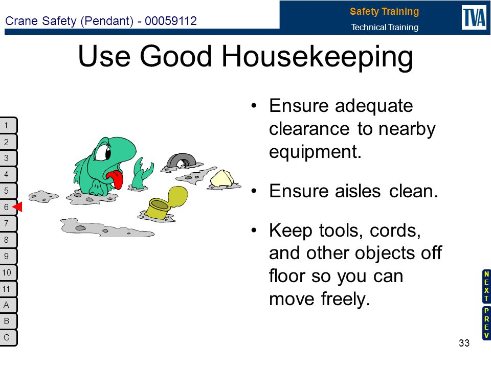 Use Good Housekeeping Ensure adequate clearance to nearby equipment.