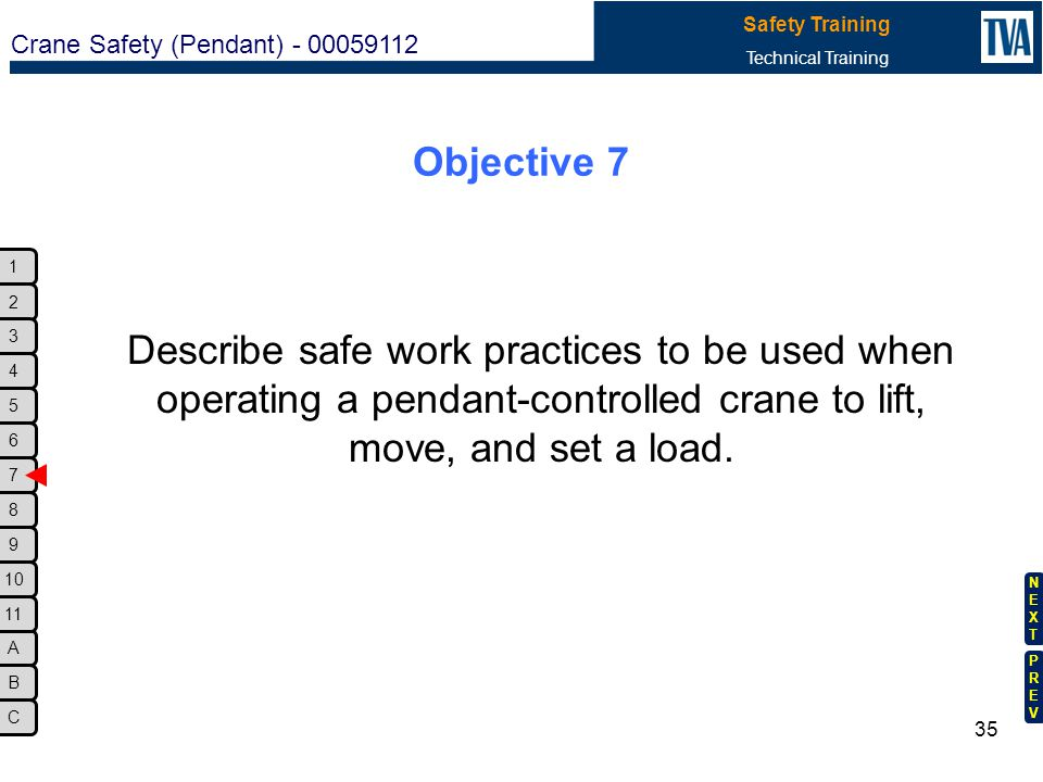 Objective 7 Describe safe work practices to be used when operating a pendant-controlled crane to lift, move, and set a load.