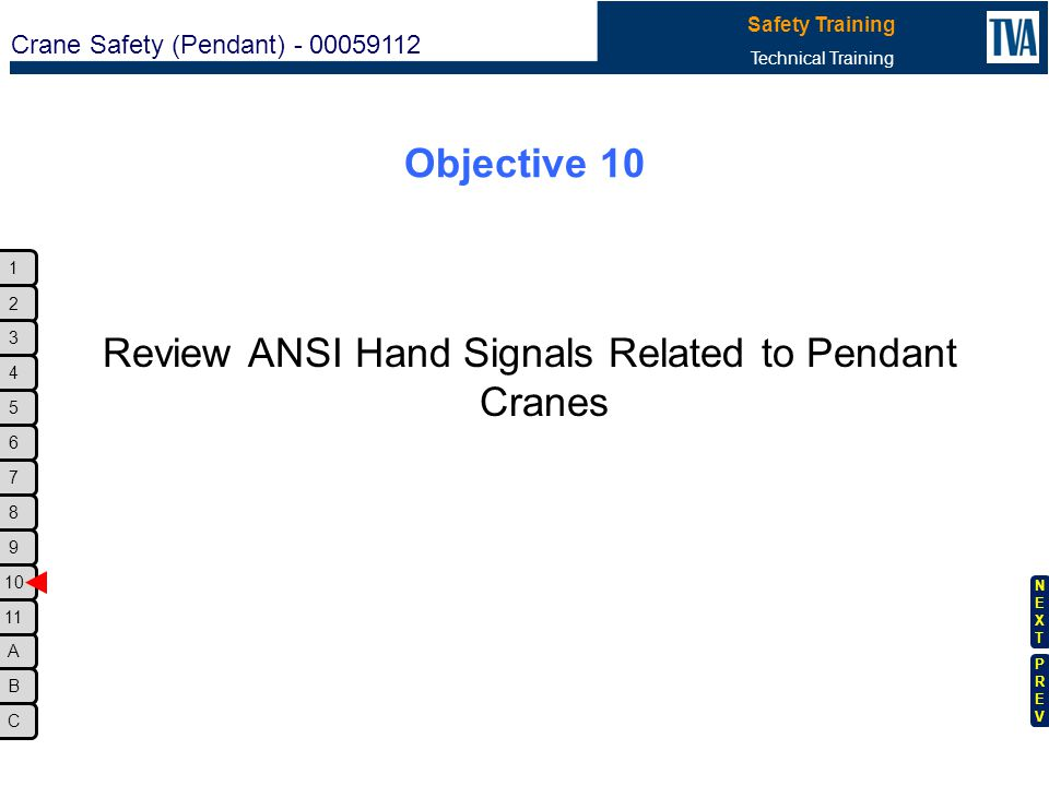Review ANSI Hand Signals Related to Pendant Cranes