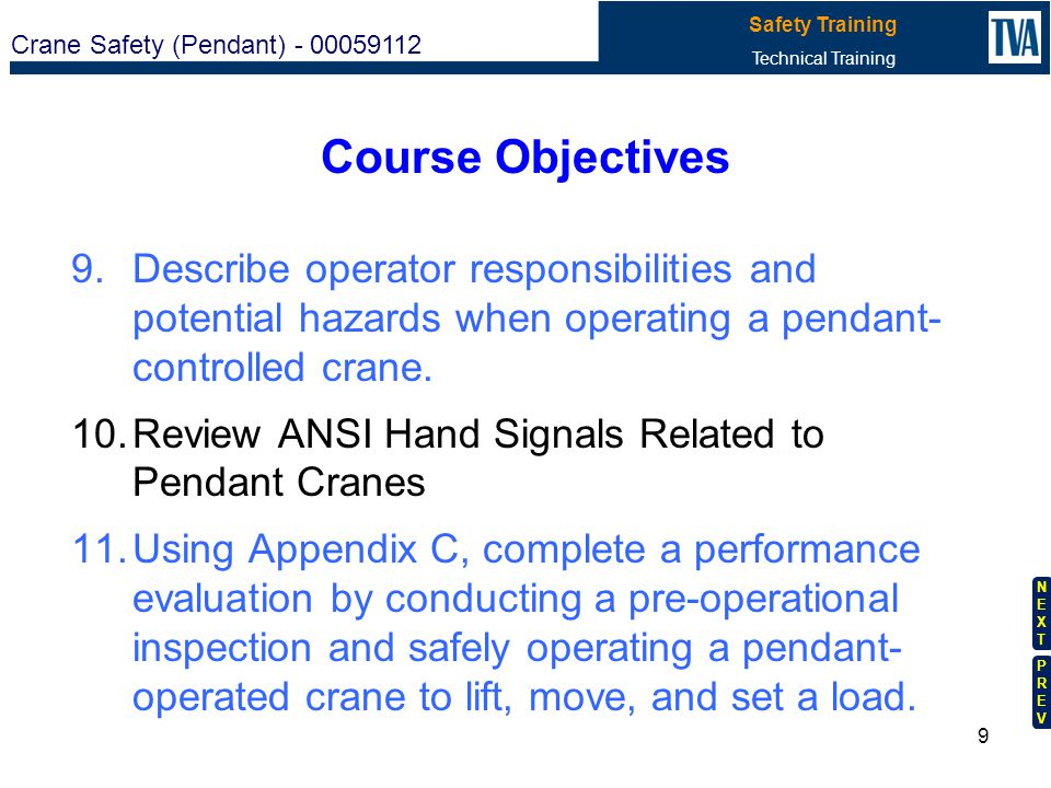 Course Objectives Describe operator responsibilities and potential hazards when operating a pendant- controlled crane.