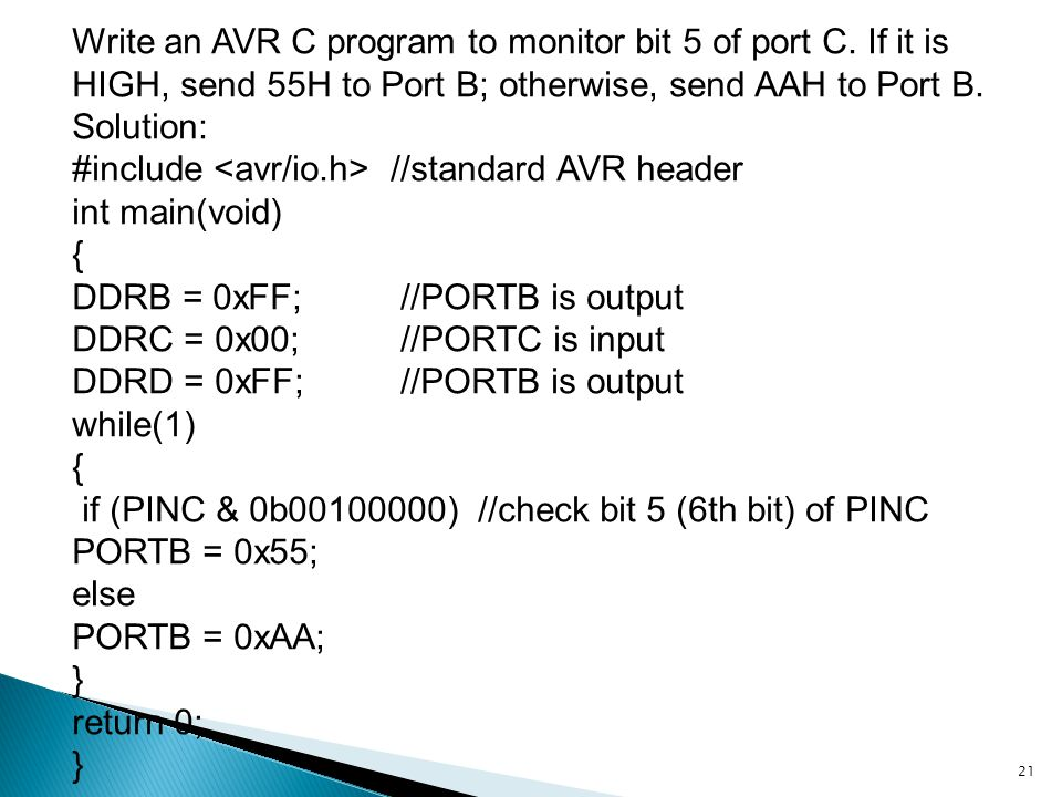 Write an AVR C program to monitor bit 5 of port C