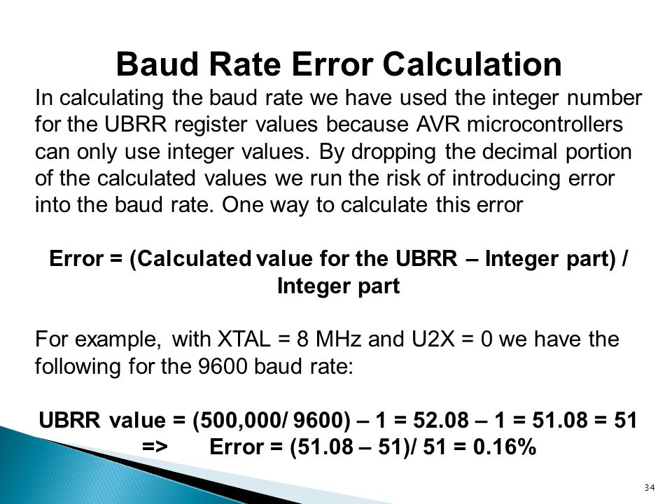 Baud Rate Error Calculation