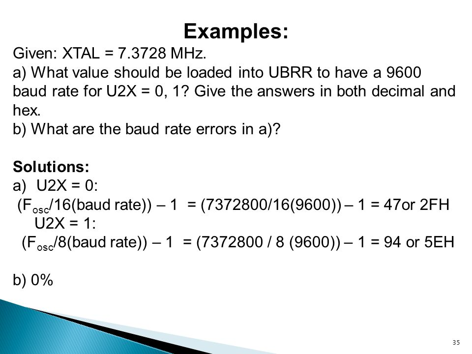 Examples: Given: XTAL = 7.3728 MHz.