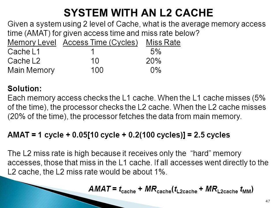 SYSTEM WITH AN L2 CACHE