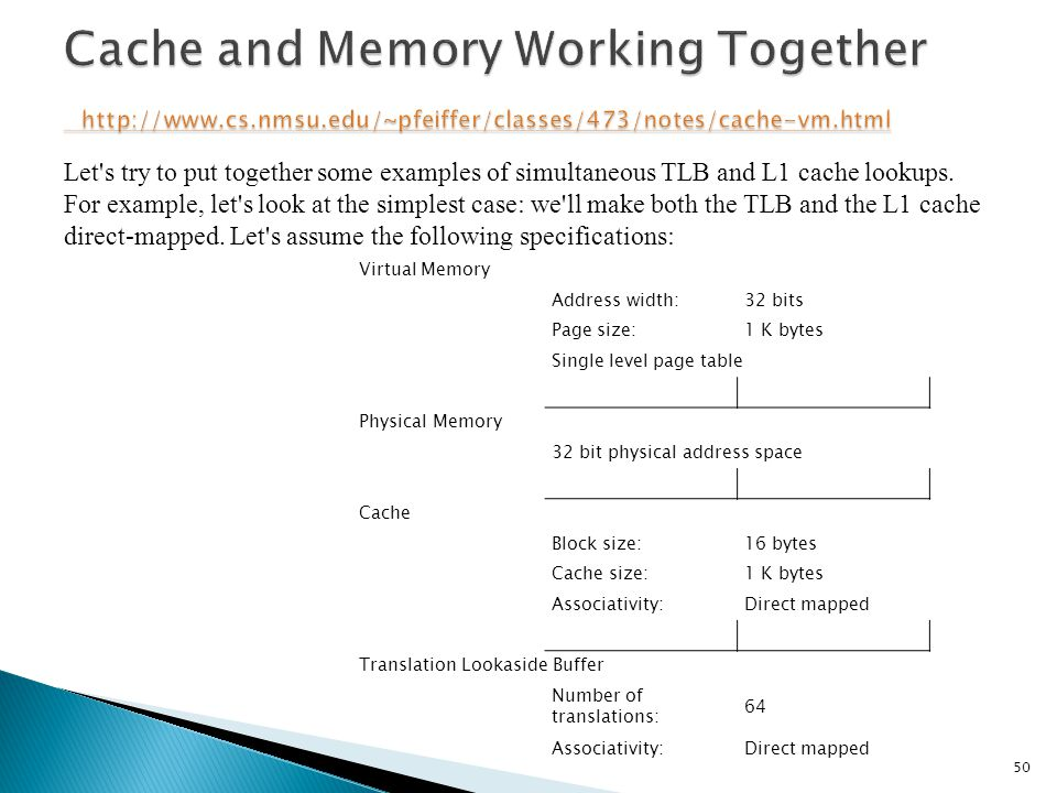 Cache and Memory Working Together http://www. cs. nmsu